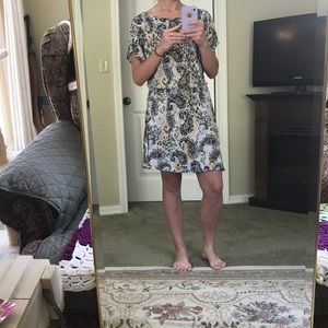 Black/white/yellow patterned sun/casual dress.
